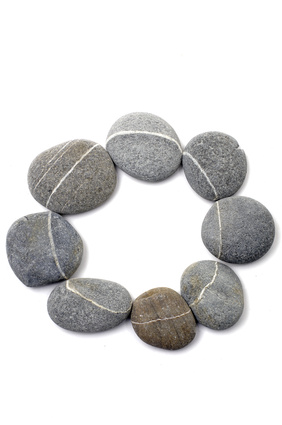 Circle grey striped stones