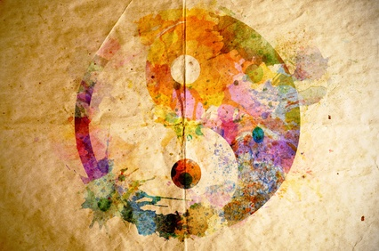 Watercolor yin yang symbol, old paper background