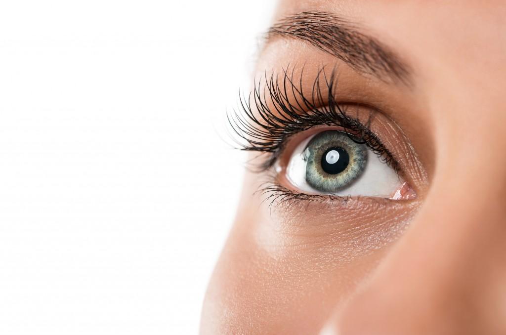 Close up of natural female eye isolated on white background