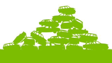 Junkyard, waste, dump green ecology background concept waste man