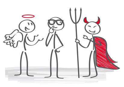 Engel, Teufel, gut, böse, Beeinflussung, Beratung, Berater, beraten, verführen, Verführung, einreden, dafür, dagegen, positiv, negativ, pro und contra, abwägen, überreden, Entscheidung, Versuchung, entscheiden, überzeugen, überlegen, ja, nein, für, wider, wahl, wählen, Bewertung, Verleitung, nachdenken, denken, herausforderung, Geschäft, männchen, Strichmännchen, bekehren