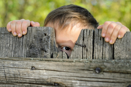 Close up Male Young Kid Peeking Over a Rustic Wooden Fence While Holding the Edge and Staring at the Camera